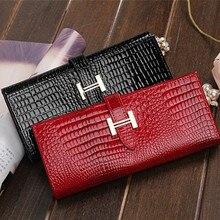 Free Shipping New Fashion Women Wallet Genuine Leather Brand Wallets Women Crocodile Design Purse Woman Wallet Leather Genuine