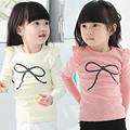 2016 Otoño Nueva Llegada Niños Ropa de Bebé Niñas Arco de Manga Larga Camiseta Camisa Básica de Manga Larga