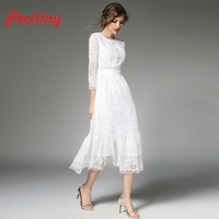 Peritiny Off White Lace Dress Women Spring Summer Autumn Dress Casual Solid ropa mujer Elegant Midi Party Dresses Female Clothes