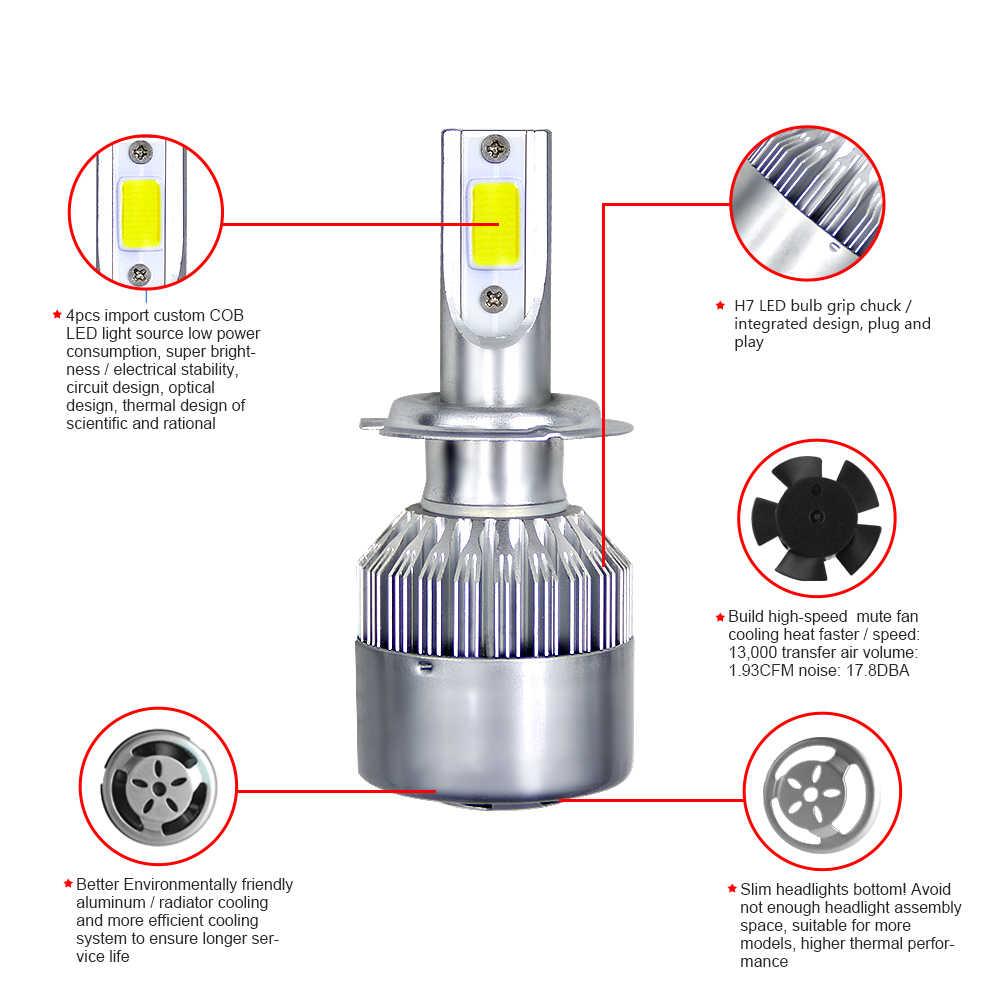 1set 2x Original C6 Car Headlight COB LED Bulbs Super White Spot Fog Lights H7 H4 LED H11 H1 HB3 9006 HB4 8000LM Headlamp 6000K