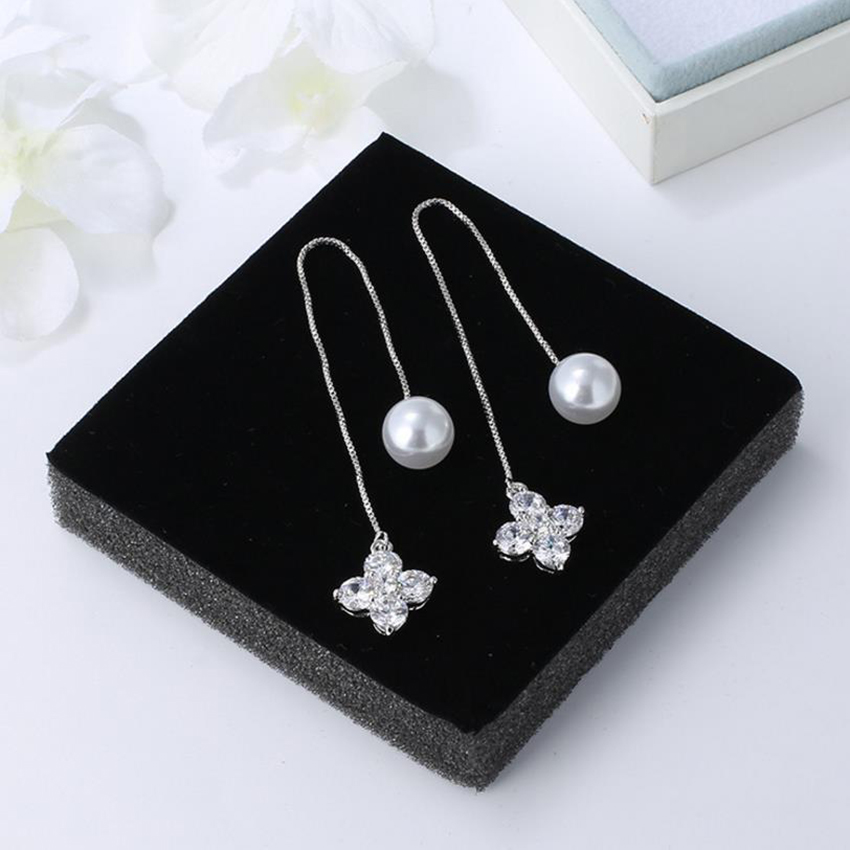 The stars and the moon sterling silver stud pearl earrings clover geometric korean fashion jewelry womens cc tassel women cats