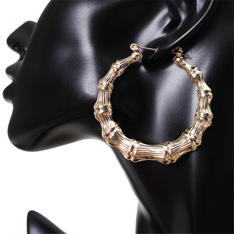 2019 new fashion gold Round nightclub earrings New Large Bamboo Joint Hoop Earrings Hip-hop Tone Big Circle Hoops Rock Orecchini Пирсинг ушей