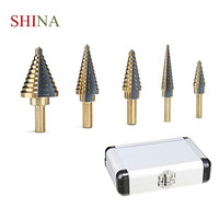 SHINA High Quality 5 Piece HSS Inch Step Drill Steel Drill Bit Twist Drill Round Handle