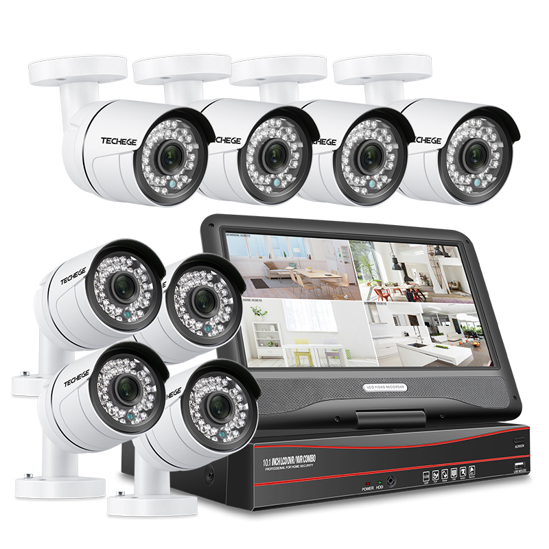 Techege 8CH PoE Camera Security System 8PCS Outdoor IP Camera 1080P 8CH PoE NVR 10.1'' LCD Monitor Email Alert CCTV Camera Kit