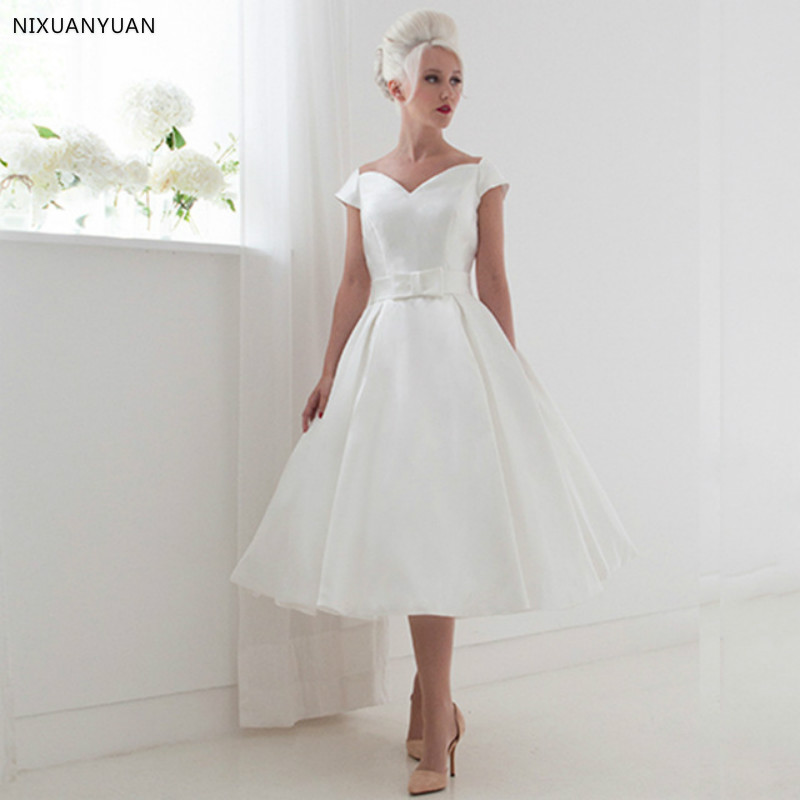 Vestido De Noiva Curto 2019 A Line V neck Short White Wedding Dress Cap Sleeve Mid Calf Length Backless Bridal Gown Robe Mariage