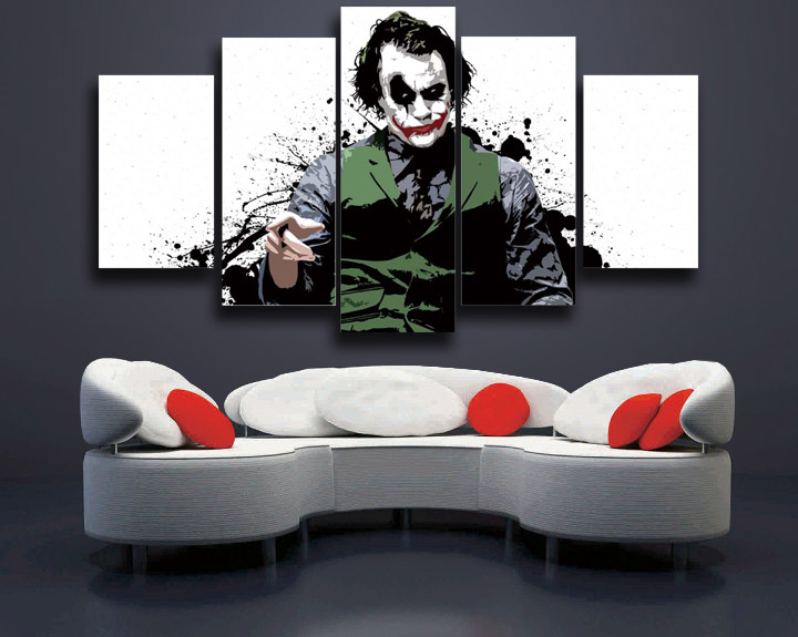 Wall Pictures For Living Room Big Sale ! Spray Painting Modular Picture Joker On Canvas 5 Panels For Wall Home Decoration Art