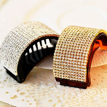 New Arrival Rhinestone Banana Hair Clip Elegant Full Crystal Women Hairs Hairpin Clamp Accessories High Quality