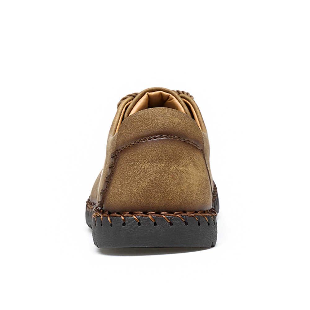 Zomer Casual Lace Up Schoenen Mannen Lederen Walking Boot Schoen Instappers Mocassins Flats Schoenen Mannen Luxe Merk Hot Koop Fashion 2019