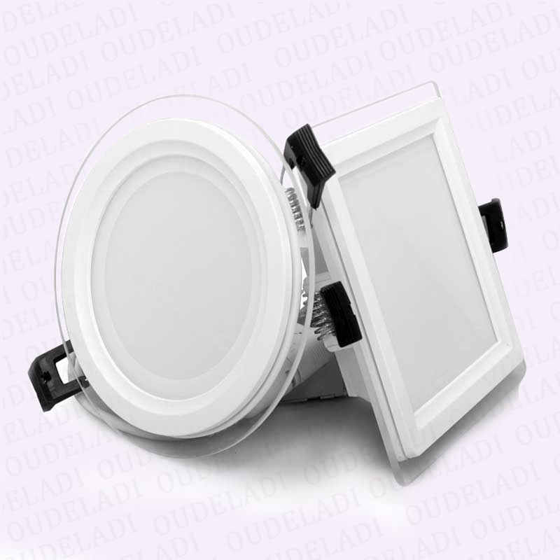 10pcs lot Round Square Glass LED Downlight 6W 12W 18W Panel Light AC85 265V Recessed Ceiling