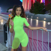 Neon Green Yoga Jumpsuit Sport Women Sportswear Short Sleeve Workout Suit Gym Clothing Slimming Seamless Fitness Set Active Wear