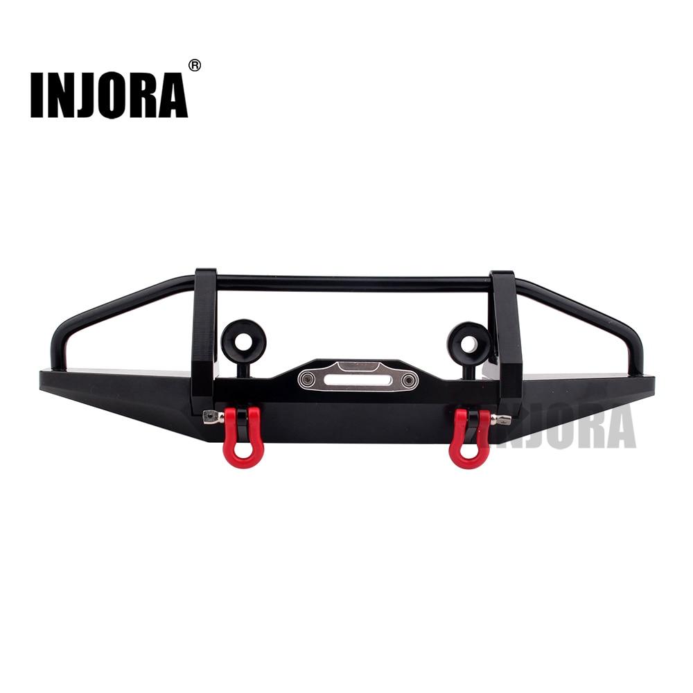 INJORA Black Metal Front Bumper for 1/10 RC Crawler Axial SCX10 & SCX10 II 90046 90047 Traxxas TRX-4 injora 4pcs red metal bumper d ring tow