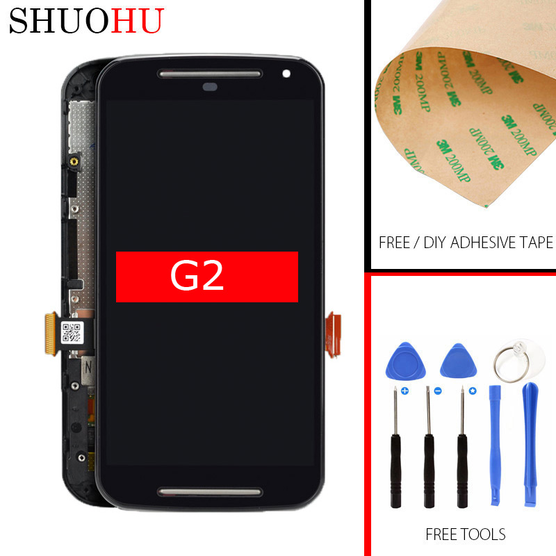 Tested LCD Screen 5.0 inch For Motorola Moto G2 XT1063 XT1064 XT1068 LCD Display Touch Digitizer Screen Assemblyv with Frame