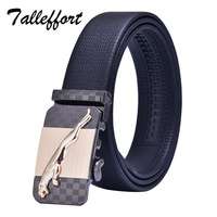 Talleffort High Quality Automatic Leopard Buckle Cowhide Leather Belt Men Designer Belts Mens Belts Luxury Genuine
