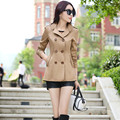 Trench Button Burderry Hot Sale Coat 2016 Women Double-breasted Fall Solid Temperament Paragraph Big Yards Leisure Vestidos