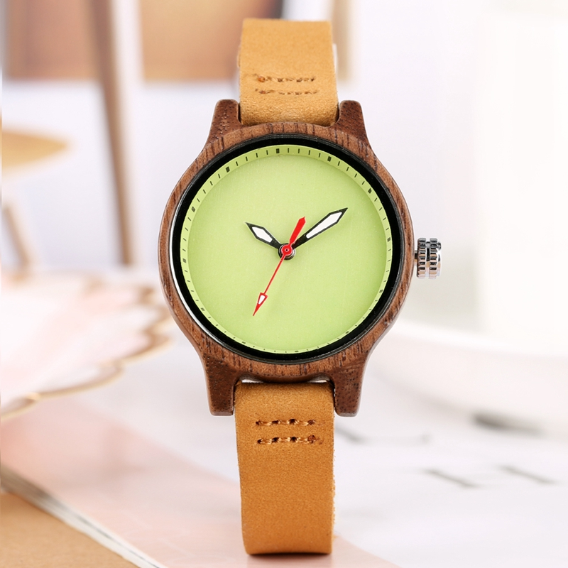 Women Wood Watches Unique Fresh Green Watch For Women Elegant Hours Clock Ladies Dress Analog Quartz Wristwatches Dames Horloges
