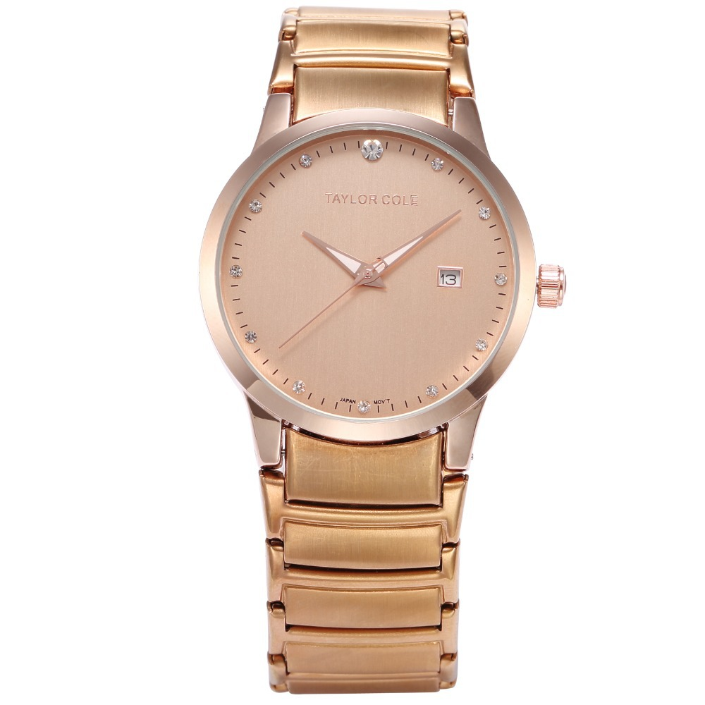 Rose Gold Taylor Cole Brand Women Dress Wristwatches Auto Date Display Steel Strap Relogio Women Dress Feminino Watch / TC021 taylor cole relogios tc016