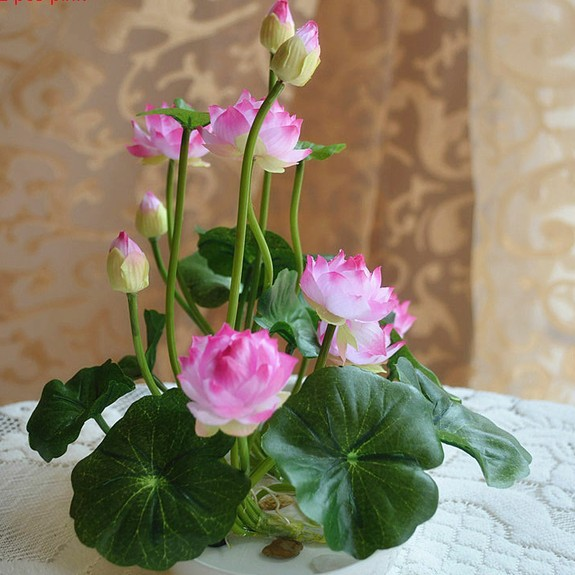 5 Flower Head Lotus Fresh Delicate Small Size Water Lily Silk