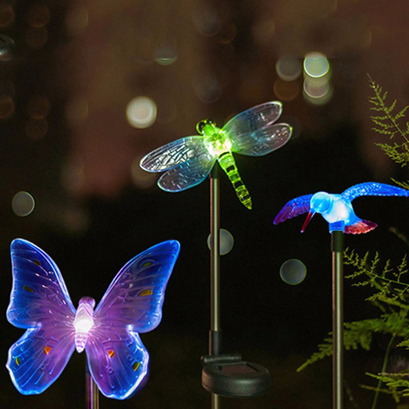 Colorful LED Garden Solar Light Outdoor Waterproof Bird Butterfly Dragonfly Garden Decoration RGB LED Lamp Landscape Lawn Light