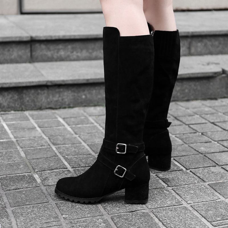 Women Knee High Boots Fur Warm Boots for Winter Handmade High Quality Square High Heels Black Genuine Leather Boots For WomenWomen Knee High Boots Fur Warm Boots for Winter Handmade High Quality Square High Heels Black Genuine Leather Boots For Women