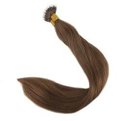 Полный блеск Nano Tip волосы удлинение волосы не имеющие повреждения кутикулы 40 г 50 пряди Цвет #6 Cheust коричневый наращивание волос Micro Бусины