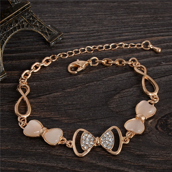 ZOSHI Gold Color Stellux Austrian Crystal Opal Beads Bow Style Charm Bracelets For Women Friendship Link Chain Bracelets Bangel