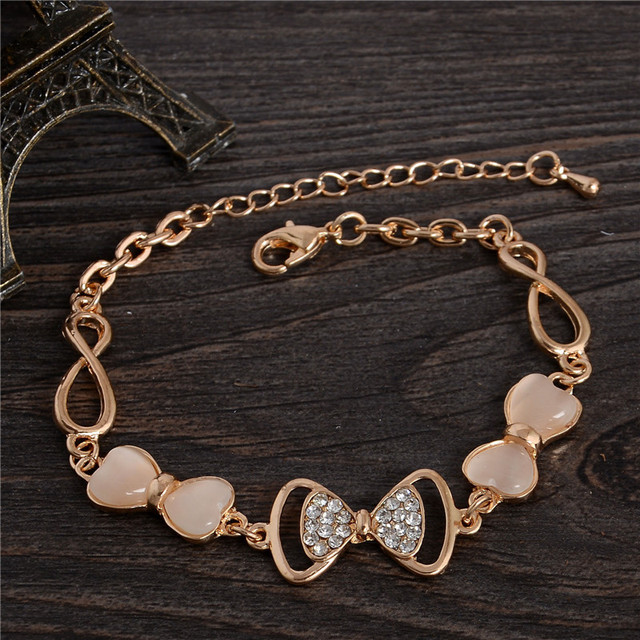 ZOSHI Gold Stellux Austrian Crystal Opal Beads Bow Style Charm Bracelets For Women Friendship Link Chain Bracelets Bangel