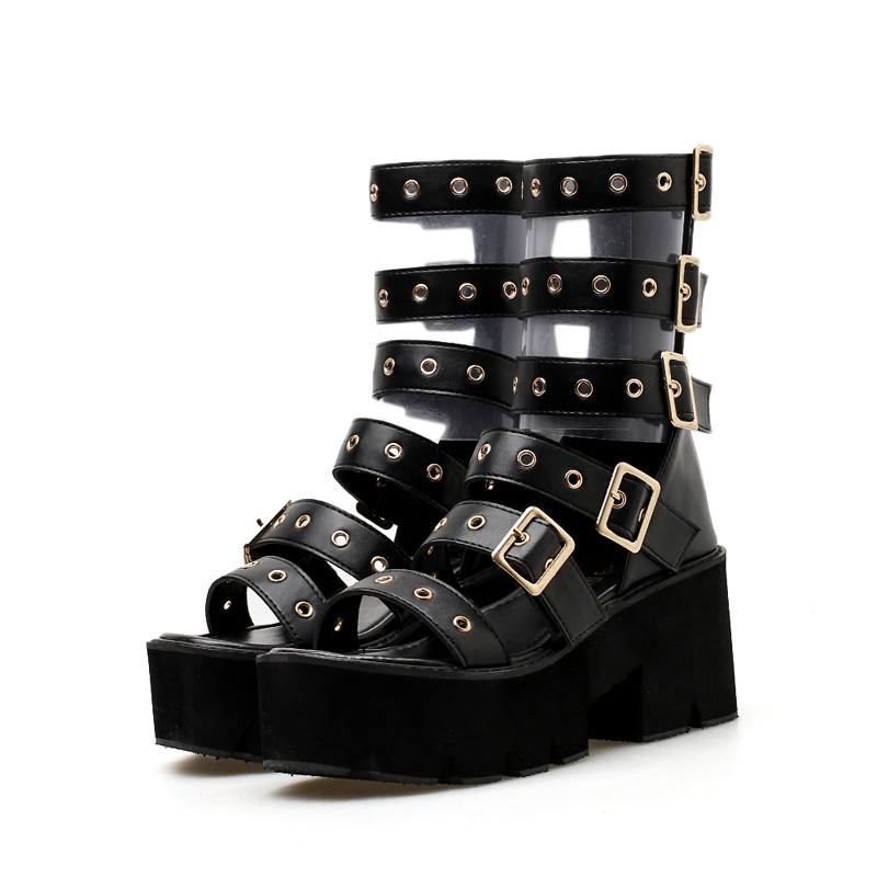 ... Punk Sandals Women Wedge Style Black Ladies Sandals Casual Toe Sandals  Ankle Open Buckle Platform Roman ... fe02384f2d45