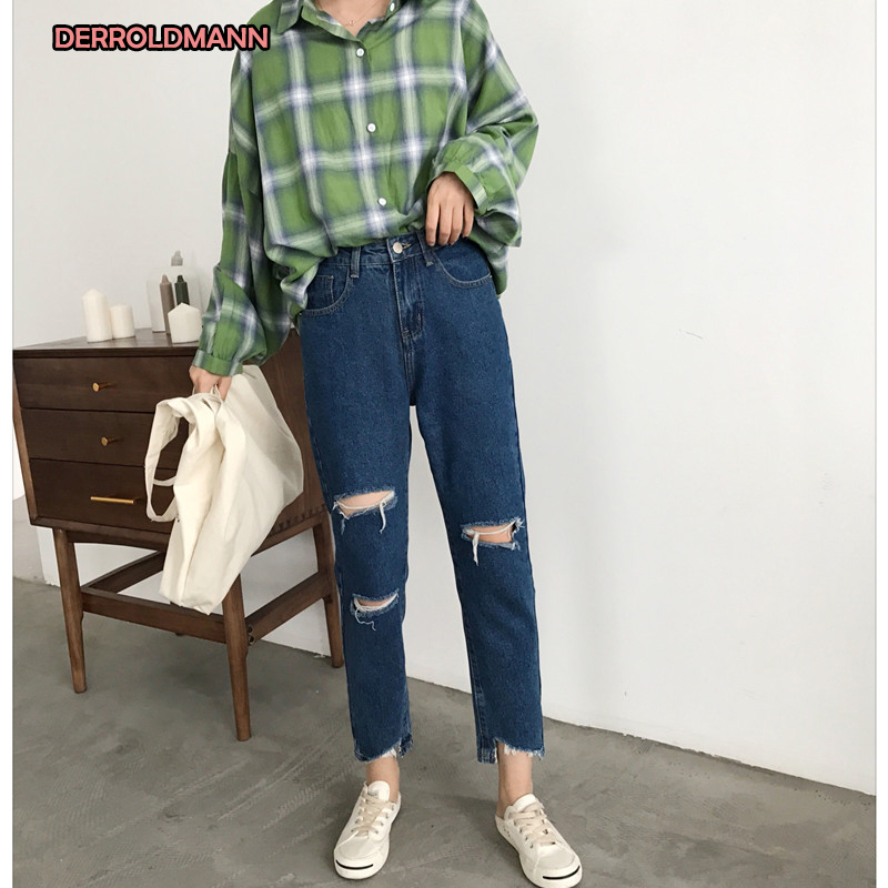 High Waist Summer Jeans Women With Broken Holes Denim Ripped Jeans Women Pants Cotton Ribbons