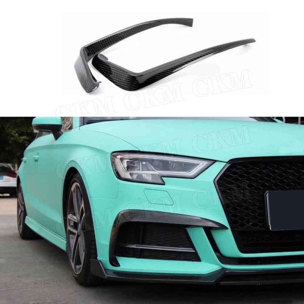 Carbon Fiber Front Fog Light Eyelids Frame For Audi A3 S3
