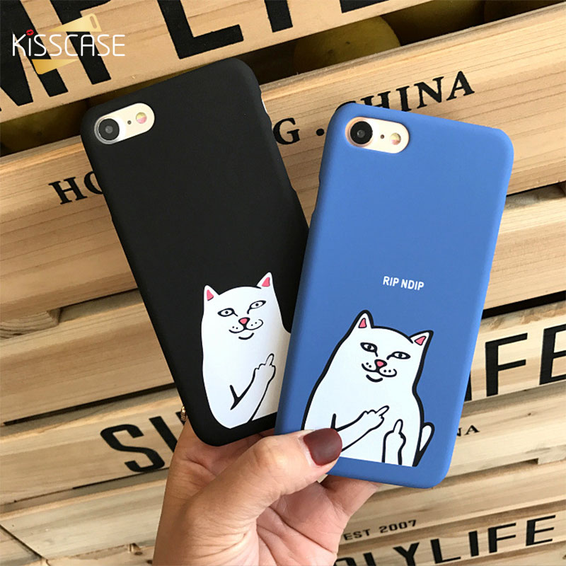 separation shoes 804a4 eacd3 KISSCASE For iphone 8 8 plus Case Cute Cat Cases For iphone 7 6 6s 7 Plus  Case Weird Finger Cat Funny Matte Plastic Cover 5s 5