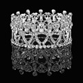 Noble classic bridal crown headdress wedding white crystal large crown zinc alloy silver plated Rhinestones wedding crown
