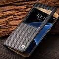 QIALINO 2016 Moda Padrão Capa De Couro Genuíno para Samsung Galaxy S7 & borda para G9300 para G9350 S7 Caso despertar do sono função