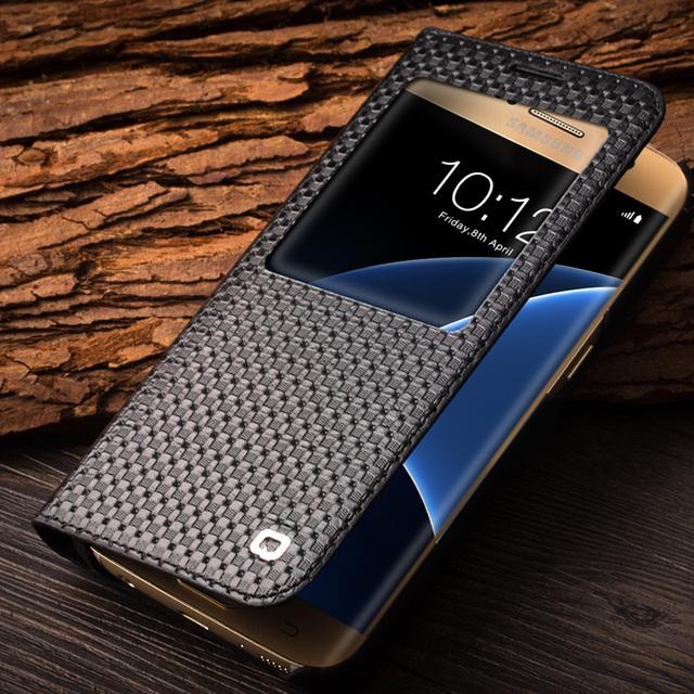 QIALINO 2016 Patrón de La Manera Cubierta del Cuero Genuino para Samsung Galaxy S7 y S7 borde para G9300 para G9350 Caso función sleep wake