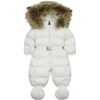 Winter Baby Snowsuit Newborn Warm Duck Down 100 Real Raccoon Fur Hooded Jumpsuit Infant Baby Girls