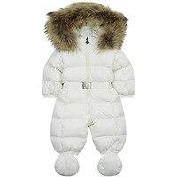 Winter baby snowsuit newborn warm duck down 100% Real Raccoon fur hooded jumpsuit infant baby girls boys Bodysuits