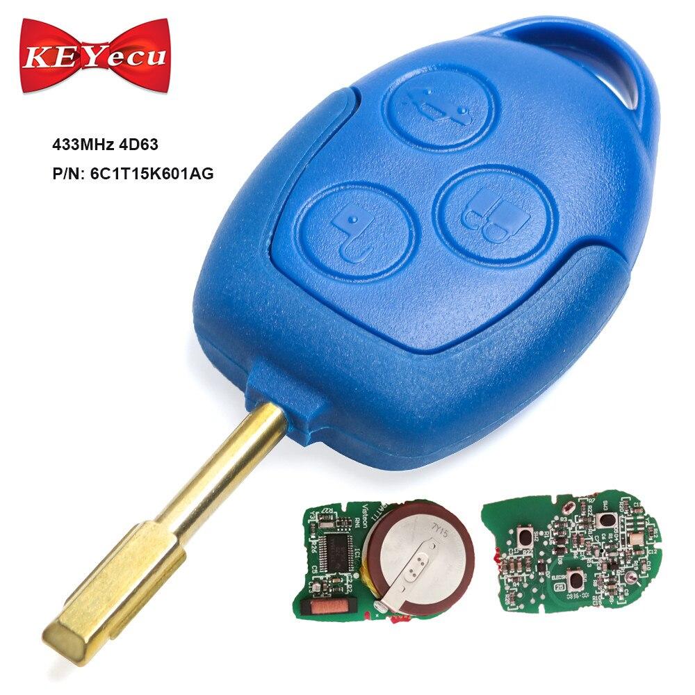 Keyecu À Distance Clé FOB 3 Bouton 433 mhz 4D63 Puce pour Ford Transit WM VM 2006-2014 p/ n: 6C1T15K601AG FO21