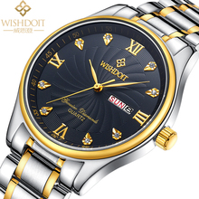 WISHDOI TLuxury Watch Fashion Stainless Steel Watchs for Man Quartz Anaog Wrist Watch Men's clock gold watches relogio masculino