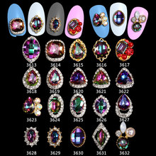 100PCS New High Quality AB Rhinestone Alloy Nail Art Decorations Glitter Charm 3D Jewelry DIY Manicure Supplies***3613-3632