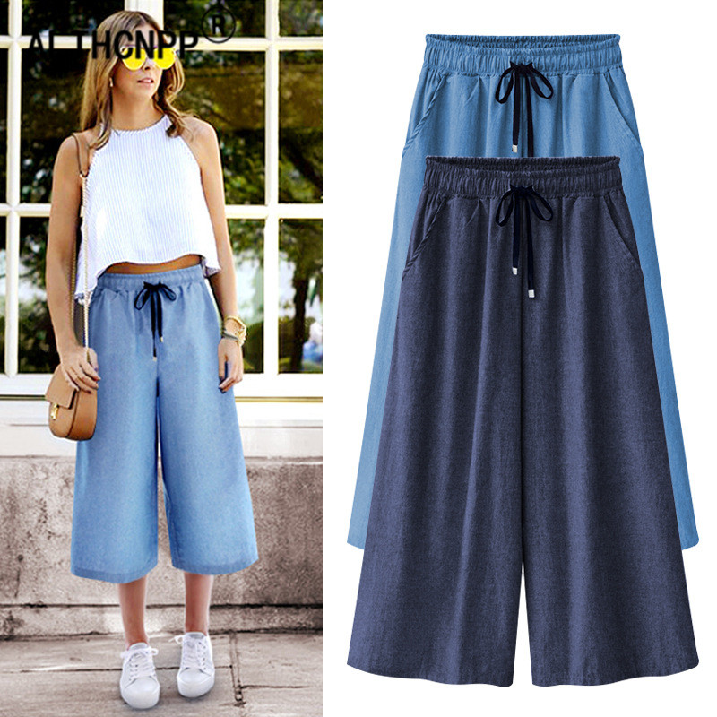 M-6XL Women's   Pants   Casual Loose   Wide     Leg     Pants   Summer Denim Calf-Length   Pants   Capris For Women Ladies Trousers Pantalon Femme