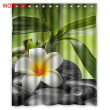 WONZOM Stone Modern Polyester Waterproof Elegant Flower Shower Curtains For Bathroom Fabric Bath Curtain With Hooks Home Decor
