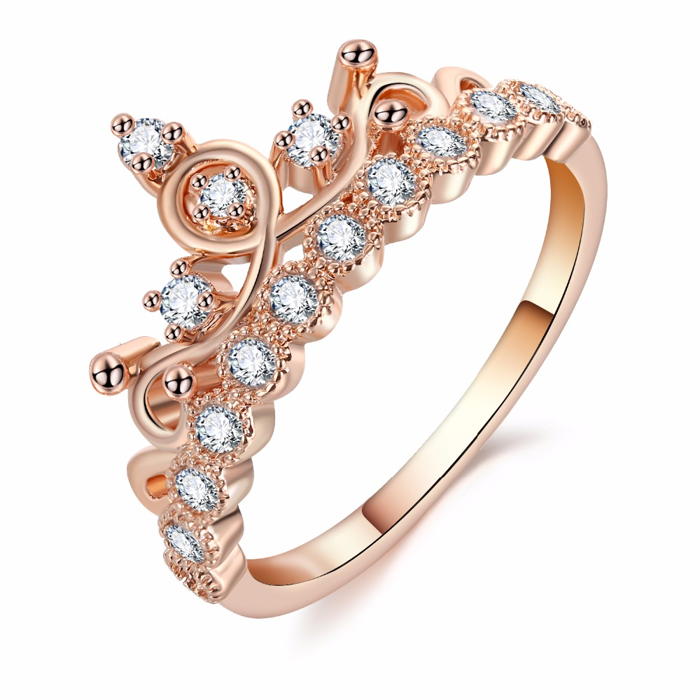 Fashion Luxury Crown Ring Statement Women Wedding Zircon Engagement Ring Trend Geometric Rose Gold Silver Romantic