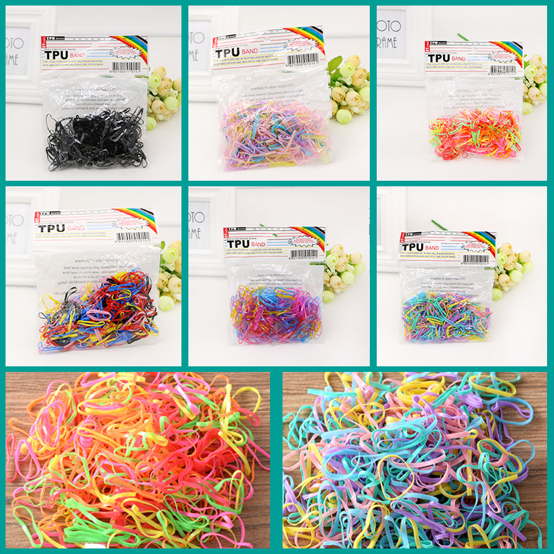 Ruiyi 300Pcs/lot Rubber Rope Ponytail Hair Elastic Holders Rubber Band Ties Braids Plaits Headband Hair Clips Hair Accessories metting joura vintage bohemian ethnic tribal flower print stone handmade elastic headband hair band design hair accessories