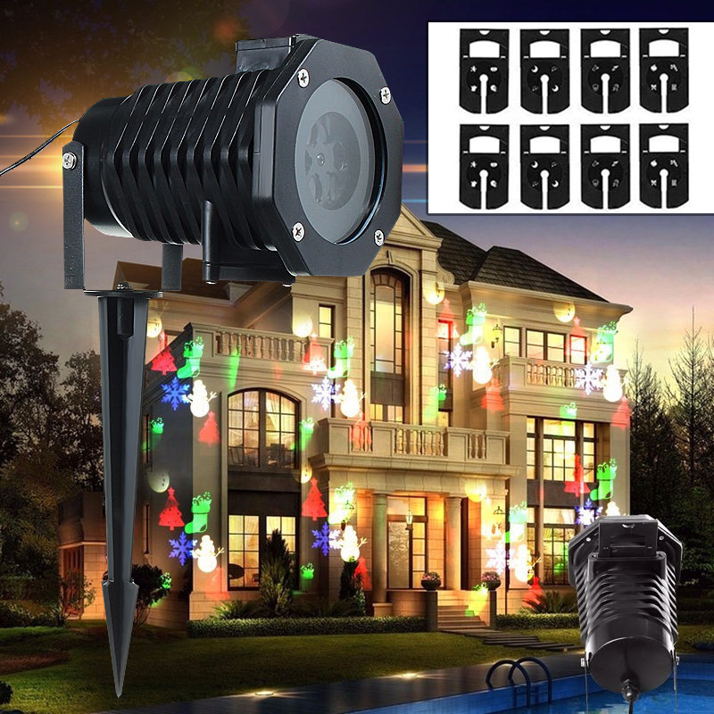 Christmas Snowflake 10 Pattern Laser Fairy Light Projection Waterproof Outdoor LED Stage Lamp For Home Garden Holiday цена 2017