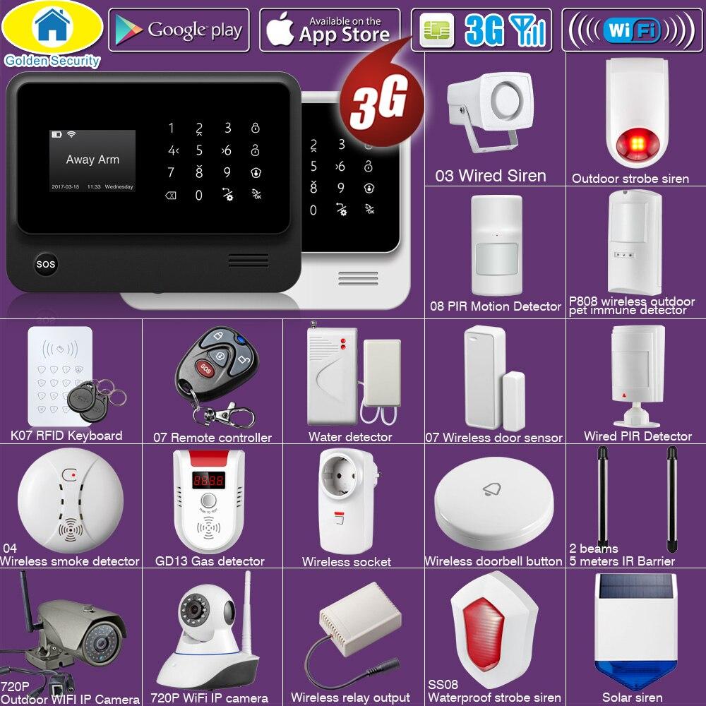 Golden Security DIY WIFI 3G GSM GPRS Wireless Home Security 3G Alarm system APP Remote Control EN RU ES PL DE Switchable 99 wireless zone 433mhz app remote control gsm gprs alarm system