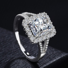 Cubic Zircon Ring Sterling Silver 10mm Main Stone Women s Large Wedding Rings for Women Silver