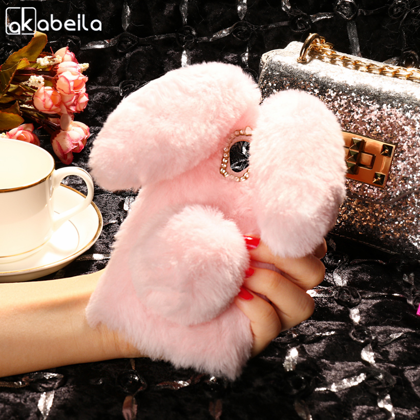 AKABEILA Case Soft Silicone For Fly IQ4415 Cases Rabbit Fur Fluffy For Fly IQ4415 quad Era Style 3 IQ 4415 Cover Anti-knock Case