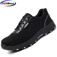 Мужская дышащая рабочая обувь со стальным носком; мужские уличные Нескользящие стальные высококачественные строительные защитные сапоги; обувь
