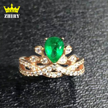 Genuine Emerald ring 100% natural stone Jewelry solid 925 sterling silver royal precious gem green faceted drop woman rings