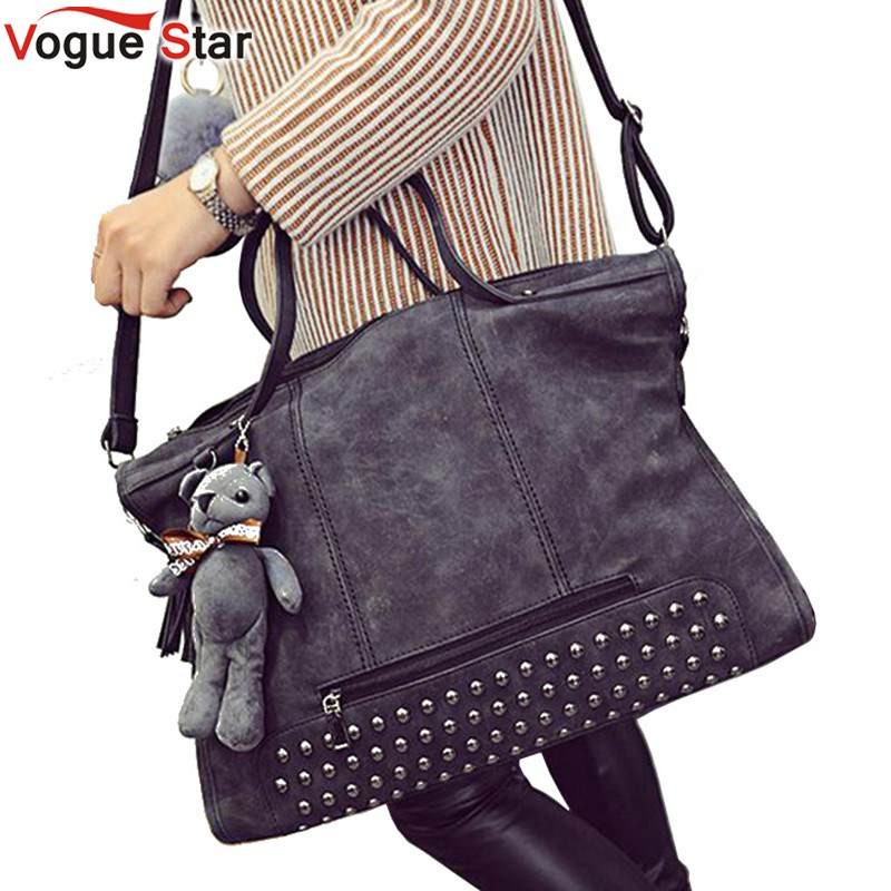 Vogue Star 2017 Brand Women Handbag Luxury Matte PU leather Large Big Bag Original Shoulder Messenger Bags Bear Pendant  LS206