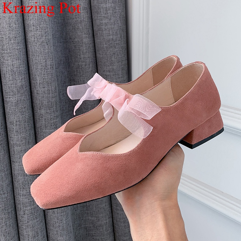 Krazing Pot Kid Suede Med Heels Slip On Butterfly-knot Shallow Women Pumps Square Toe Brand Party Mary Janes Autumn Shoes L7f2